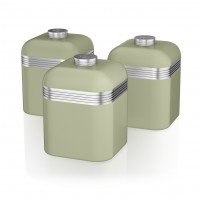 Swan Retro Set of 3 Canister Set - Green