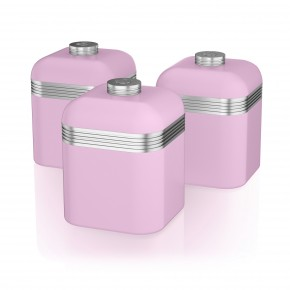 Swan Retro Set of 3 Canister Set - Pink