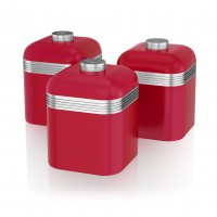Swan Retro Set of 3 Canister Set - Red