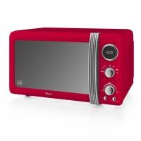 Swan Retro 800W Digital Microwave - Red