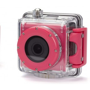 Kitvision Splash Full 1080p Action Camera with Screen, 16GB Card & Selfie Stick - Pink